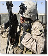 U.s. Marine Communicates With Fellow Acrylic Print