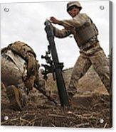 U.s. Marine Drops A Mortar Round Acrylic Print