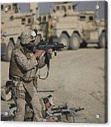 U.s. Marine Fires A G36k Carbine Acrylic Print