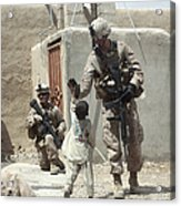 U.s. Marine Gives An Afghan Child Acrylic Print