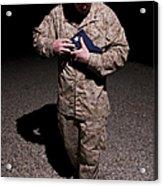 U.s. Marine Holding The American Flag Acrylic Print