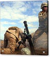 U.s. Marine Holds A Mortar Tube Steady Acrylic Print