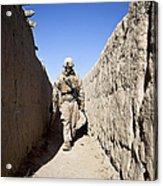 U.s. Marine Sweeps An Alleyway Acrylic Print