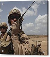 U.s. Marine Uses A Radio In Djibouti Acrylic Print by Stocktrek Images
