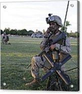 U.s. Marine Utilizes A Satellite Radio Acrylic Print