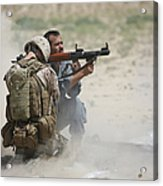 U.s. Marine Watches An Afghan Police Acrylic Print by Terry Moore