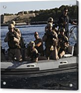 U.s. Marines Approach A Suspect Vessel Acrylic Print
