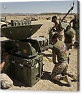 U.s. Marines Assemble A Satellite Dish Acrylic Print
