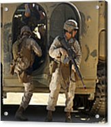 U.s. Marines Climb Into The Back Of An Acrylic Print