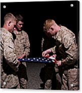 U.s. Marines Fold The American Flag Acrylic Print