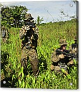 U.s. Marines Guard An Extraction Point Acrylic Print