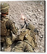 U.s. Marines Provide Suppressive Fire Acrylic Print