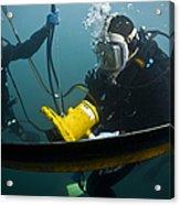 U.s. Navy Diver Instructs A Barbados Acrylic Print
