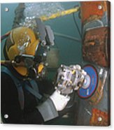 U.s. Navy Diver Uses A Grinder To File Acrylic Print by Stocktrek Images