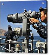 U.s. Navy Sailors Observe The Coastline Acrylic Print