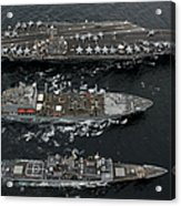 U.s. Navy Ships Conduct A Replenishment Acrylic Print