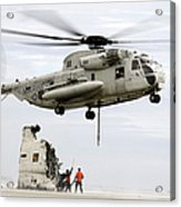 U.s. Sailors Assist A Ch-53d Sea Acrylic Print
