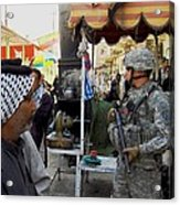 Us Soldier Patrols The Streets Acrylic Print by Everett