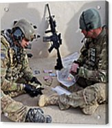 U.s. Soldiers Count Money Found While Acrylic Print