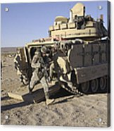 U.s. Soldiers Exit From An M2 Bradley Acrylic Print