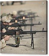 U.s. Soldiers Firing Pk 7.62 Mm Acrylic Print