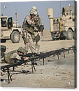 U.s. Soldiers Prepare To Fire Weapons Acrylic Print by Terry Moore