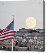 Usa Flag And Moon Acrylic Print