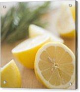 Usa, New Jersey, Jersey City, Lemon On Chopping Board Acrylic Print