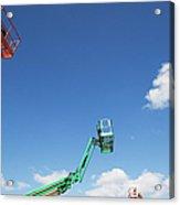 Usa, New York, Long Island, New York City, Cherry Pickers On Construction Site Acrylic Print