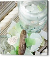Usa, New York State, New York City, Brooklyn, Still Life With Sea Glass And Pebbles Acrylic Print