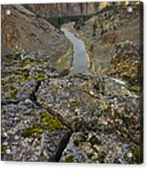 Usa, Oregon, Smith Rock State Park, Rocky Landscape With River View Acrylic Print