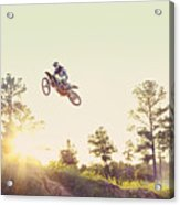 Usa, Texas, Austin, Dirt Bike Jumping Acrylic Print by King Lawrence