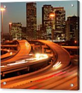 Usa, Texas, Houston City Skyline And Motorway, Dusk (long Exposure) Acrylic Print