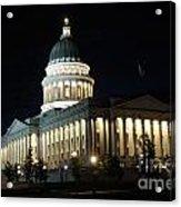 Utah Capitol At Night Acrylic Print by Gary Whitton