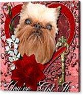 Valentines - Key To My Heart Brussels Griffon Acrylic Print