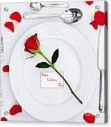 Valentines Place Setting With Red Rose And Petals Acrylic Print