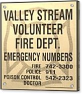 Vallet Stream Fire Department In Sepia Acrylic Print