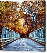 Valley Green Road Bridge In Autumn Acrylic Print by Bill Cannon