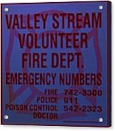Valley Stream Fire Department In Blue Acrylic Print by Rob Hans