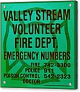 Valley Stream Fire Department In Irish Green Acrylic Print