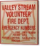 Valley Stream Fire Department Acrylic Print