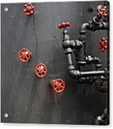 Valves And Pipes Of Steam Roller 7d15107 Acrylic Print