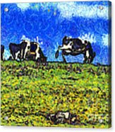 Van Gogh Goes Cow Tipping 7d3290 Acrylic Print by Wingsdomain Art and Photography