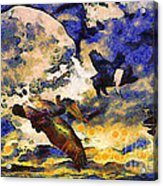Van Gogh.s Flying Pig Acrylic Print by Wingsdomain Art and Photography