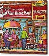 Van Horne Bagel Next To Yangste Restaurant Montreal Streetscene Acrylic Print