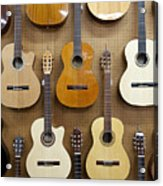 Various Guitars Hanging From Wall Acrylic Print