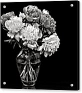 Vase Of Peonies In Black And White Acrylic Print