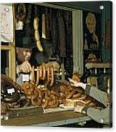 Vendor Holds Up Sausages For Young Girl Acrylic Print