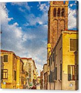 Venice Sunset View Of Two Towers From The Ponte San Barnaba On The Fondamenta Rezzonica Acrylic Print