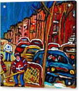 Verdun Rowhouses With Hockey - Paintings Of Verdun Montreal Street Scenes In Winter Acrylic Print